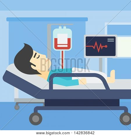An asian man lying in bed at hospital ward. Patient with heart rate monitor and equipment for blood transfusion in medical room. Vector flat design illustration. Square layout.