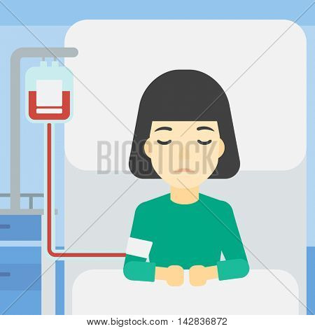 An asian woman lying in bed at hospital ward with equipment for blood transfusion. Woman during medical procedure with drop counter at medical room. Vector flat design illustration. Square layout.