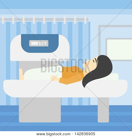 An asian young woman undergoes a magnetic resonance imaging scan test at hospital room. Magnetic resonance imaging machine scanning patient. Vector flat design illustration. Square layout.
