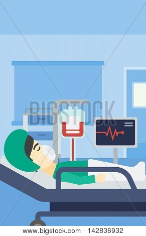 An asian man lying in bed at hospital ward. Patient in oxygen mask lying in hospital ward with heart rate monitor and equipment for blood transfusion. Vector flat design illustration. Vertical layout.