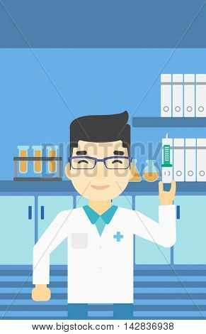 An asian laboratory assistant holding syringe. Laboratory assistant with syringe in a laboratory. Laboratory assistant making medical test. Vector flat design illustration. Vertical layout.