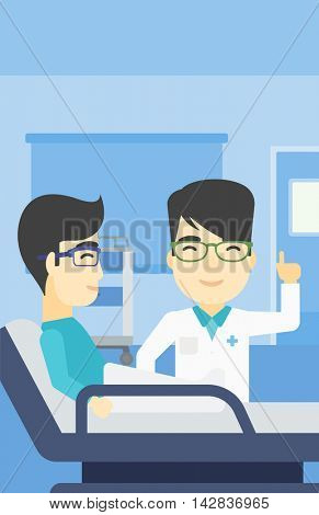 An asian doctor visiting male patient at hospital ward. Doctor pointing finger up during consultation with patient in hospital room. Vector flat design illustration. Vertical layout.