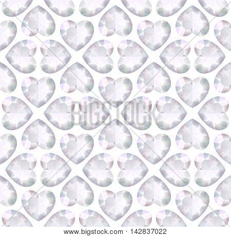 Vector light seamless background with diamonds heart shape