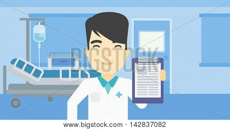 An asian male doctor showing clipboard with prescription. Doctor holding clipboard on the background of hospital room. Vector flat design illustration. Horizontal layout.