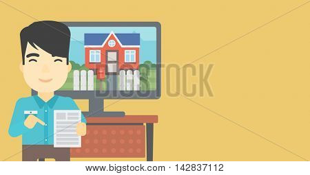 Asian man standing in front of tv screen with house photo on it and pointing at a real estate contract. Concept of signing of real estate contract. Vector flat design illustration. Horizontal layout.