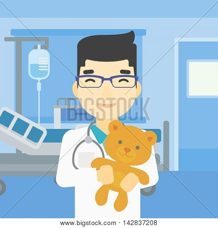 Young asian male pediatrician doctor holding a teddy bear. Professional pediatrician doctor with a teddy bear in the hospital room. Vector flat design illustration. Square layout.