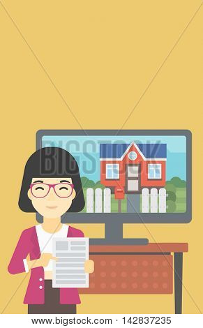 Asian woman standing in front of tv screen with house photo on it and pointing at a real estate contract. Concept of signing of real estate contract. Vector flat design illustration. Vertical layout.