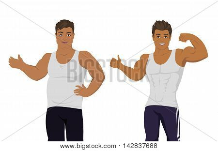 Figure of the man before and after diet. Banner of a person before and after weight loss. Sportive and fat boy isolated. Part of series of promotion healthy diet and good fit. Vector illustration