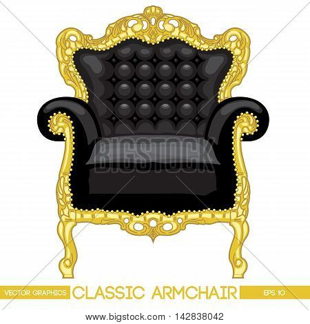 Black and yellow classic armchair over white background. Digital vector image