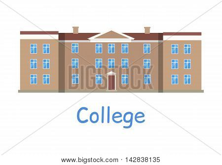College building icon. Brown building with brown roof. Three-storey building. College icon. Building icon. Simple drawing. Isolated vector illustration on white background.