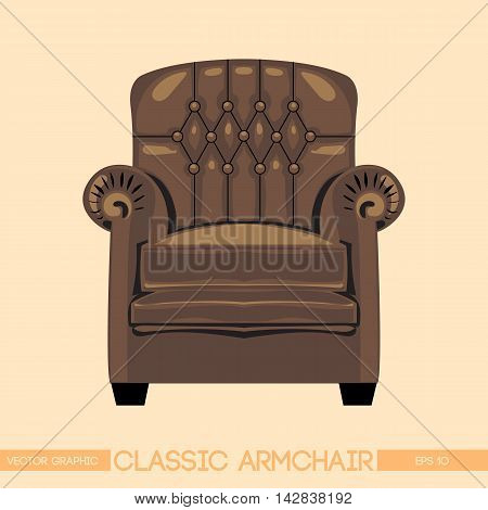 Brownclassic armchair over light background. Digital vector image