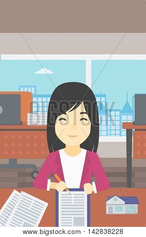 An asian female real estate agent signing a contract. Real estate agent sitting at workplace in office with a house model on the table. Vector flat design illustration. Vertical layout.
