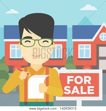 An asian young male real estate agent signing contract. Real estate agent standing in front of the house with placard for sale. Vector flat design illustration. Square layout.