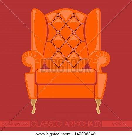Orange classic armchair over red background. Digital vector image