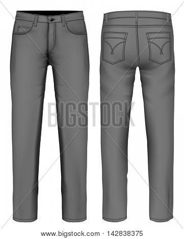 Men's jeans (front, back views). Fully editable handmade mesh. Vector illustration.