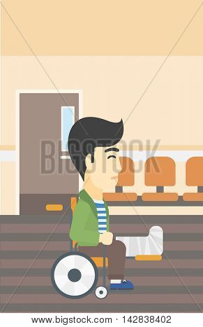 An asian injured man with leg in plaster. Man with broken leg sitting in wheelchair. Man with fractured leg in the hospital corridor. Vector flat design illustration. Vertical layout.