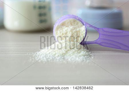 Baby milk formula in purple spoon on wooden background