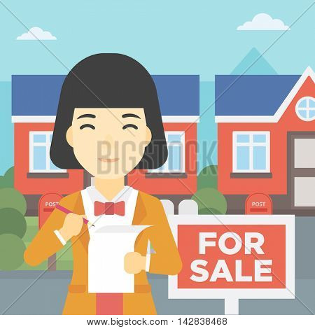 An asian young female real estate agent signing a contract. Young real estate agent standing in front of the house with placard for sale. Vector flat design illustration. Square layout.