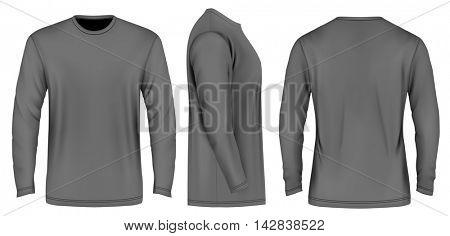 Men long sleeve t-shirt . Front, side and back views. Vector illustration. Fully editable handmade mesh.