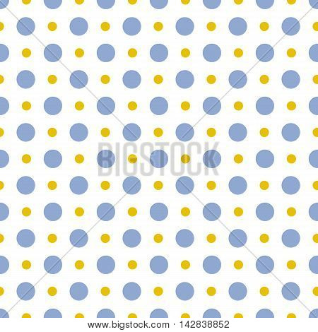 Vector pattern of big and small blue and gold polka dots on white background. Seamless polka dots pattern for background, wallpaper, print