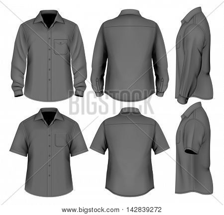 Formal shirts (button-down collar) front, back and side views short and long sleeve. Fully editable handmade mesh. Vector illustration.