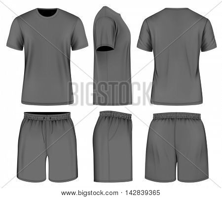 Men's black short sleeve t-shirt and sport shorts. Vector illustration. Fully editable handmade mesh.