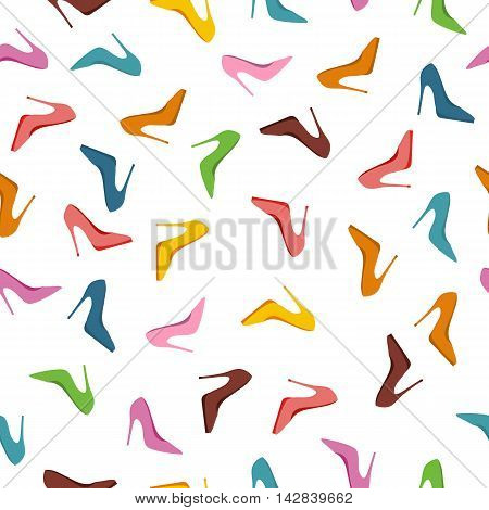 Seamless pattern high heels shoes. Fashion accessories illustration Abstract background with shoes of different colors. For shops, advertisements, banners, posters. New collection. Sale. Vector