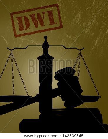 Court gavel with DWI text -- Driving while intoxicated concept