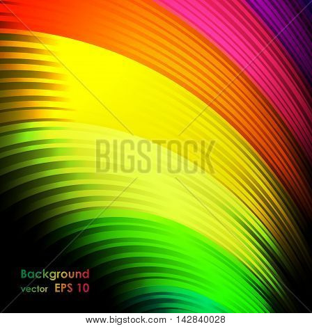 Abstract colored background. It consists of colored wavy lines on a black background.