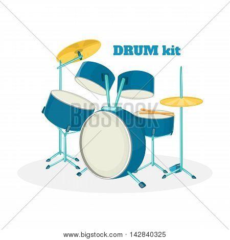Cartoon drum kit in white background. Vector illustration