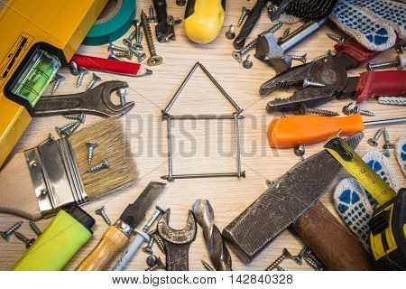 Set of construction tools the tools lie around center free composition power tools. House of nails hobnails