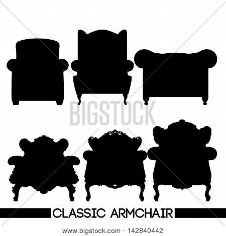 Black classic armchair set in outlines over white background. Digital vector image