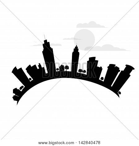Black city logo. vector illustration. black sillouette.
