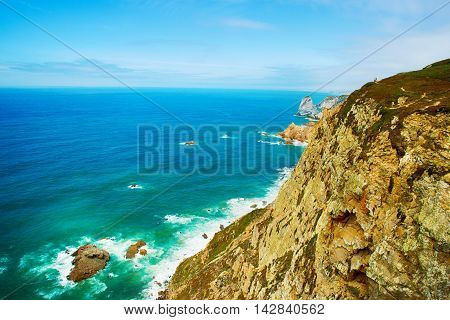 Coast of Portugal Cape Cabo da Roca - the westernmost point of Europe. Picturesque rocks.