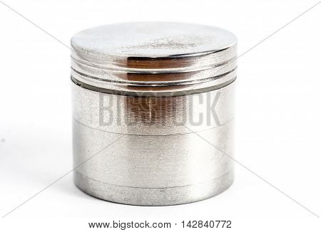 weed steel grinder on a white background