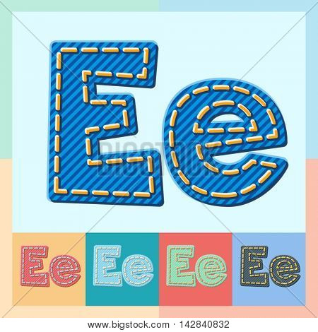 Vector jeans alphabet. Optional colorful graphic styles. Letter E