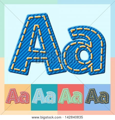 Vector jeans alphabet. Optional colorful graphic styles. Letter A