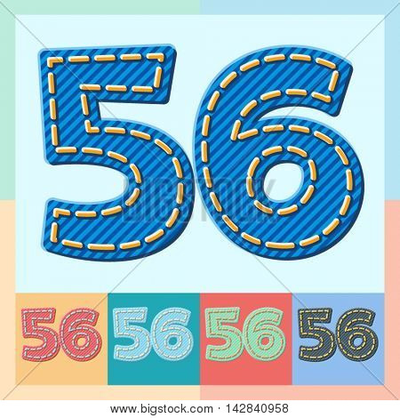 Vector jeans alphabet. Optional colorful graphic styles. Numbers 5 6
