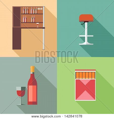 Furniture set with wine bottles and chair in outlines. Digital vector image