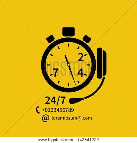 Abstract vector illustration of speed of technical support headphones stopwatch. Customer service concept. Technical support online call center. Template banners for web printing and promotion.