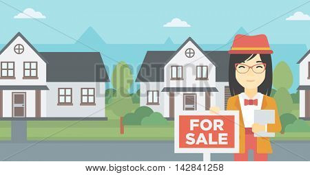 An asian young real estate agent offering the house. Female broker with placard for sale and documents in hands standing in front of the house. Vector flat design illustration. Horizontal layout.