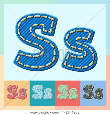 Vector jeans alphabet. Optional colorful graphic styles. Letter S
