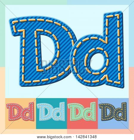 Vector jeans alphabet. Optional colorful graphic styles. Letter D