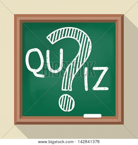 Message on the quiz on the school board. Vector illustration of a flat design. Question mark drawn in chalk. Template for the test examination survey contest.