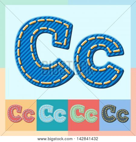 Vector jeans alphabet. Optional colorful graphic styles. Letter C