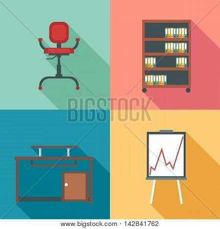 Modern office rurniture set in outlines. Digital vector image