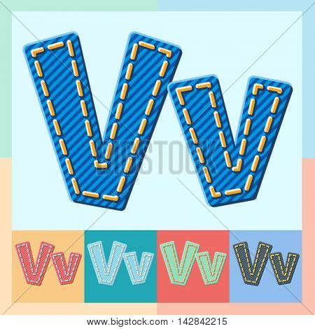 Vector jeans alphabet. Optional colorful graphic styles. Letter V