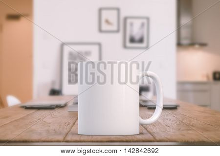 Mockup Styled Stock Product Image white mug that you can add your custom design/quote to. Focus on the mug rest of the image is soft.