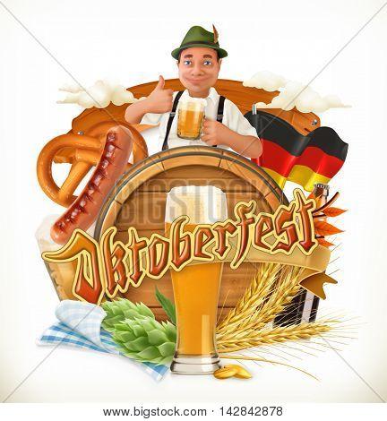 Munich Beer Festival Oktoberfest, the vector can also be used by any beer manufacturers. Barrel, pretzel, beverage, hop, malt.