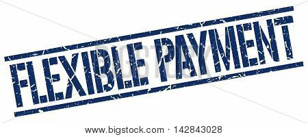 flexible payment stamp. blue grunge square isolated sign